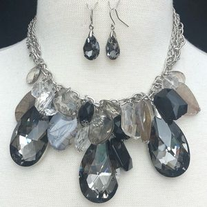 Large Beaded Cluster Necklace Earrings Set